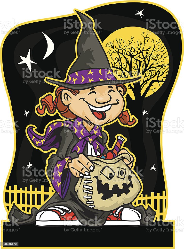Halloween witch carrying candy bag royalty-free halloween witch carrying candy bag stock vector art & more images of bag