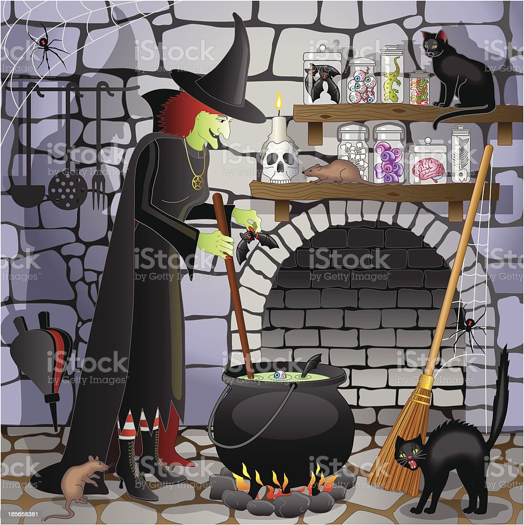 Halloween witch cooking in her cauldron royalty-free stock vector art