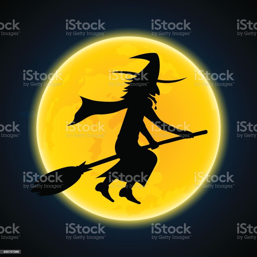 Halloween witch flying on broom and moon Halloween festival and celebration abstract background, witch flying on broom with moon, vector illustration. Abstract stock vector