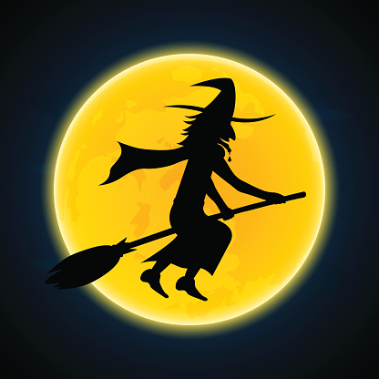 Halloween Witch Flying On Broom And Moon Stock Illustration - Download Image Now