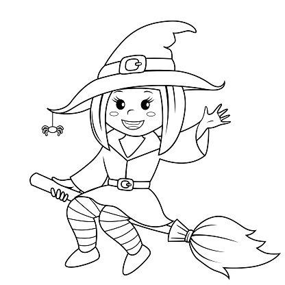 Halloween Witch Flying On Broom Black And White Vector ...