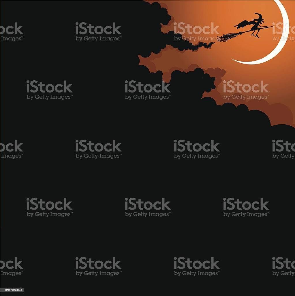 Halloween witch flying on broomstick & moon royalty-free halloween witch flying on broomstick moon stock vector art & more images of back lit