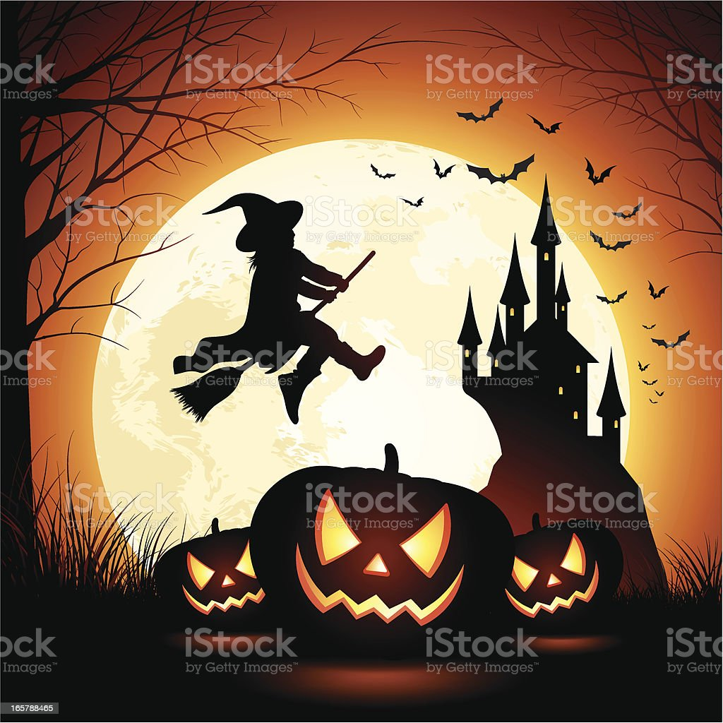 Halloween Witch Girl royalty-free stock vector art