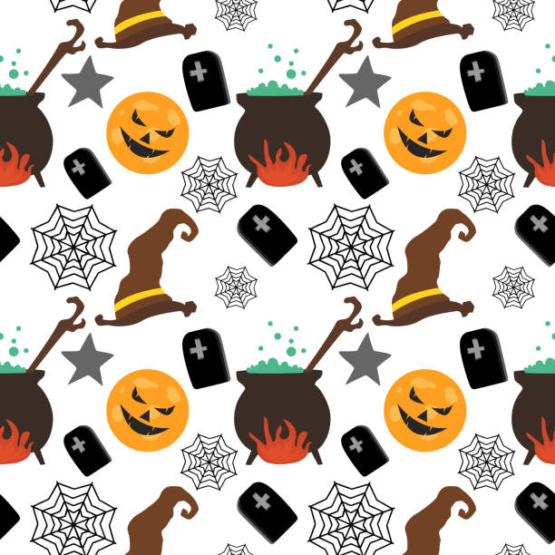 Halloween witch hat pumpkin and web creepy seamless pattern Halloween witch hat pumpkin and web creepy seamless pattern. vector illustration for fashion textile print and wrapping with festive design. tarantula stock illustrations