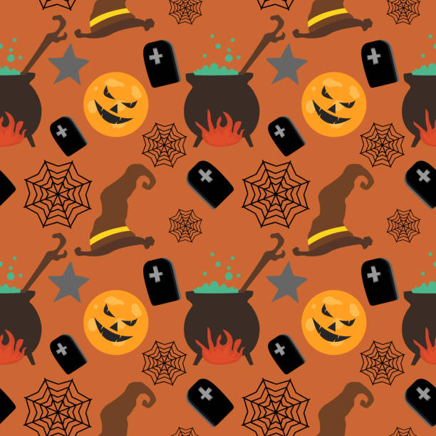 Halloween witch hat pumpkin and web cute seamless pattern Halloween witch hat pumpkin and web cute seamless pattern. vector illustration for fashion textile print and wrapping with festive design. tarantula stock illustrations