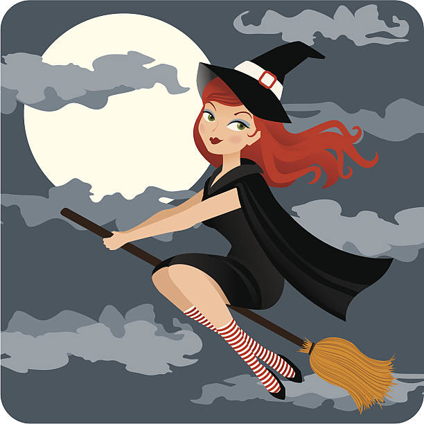 halloween witch illustration in the dark - redhead stock illustrations, clip art, cartoons, & icons