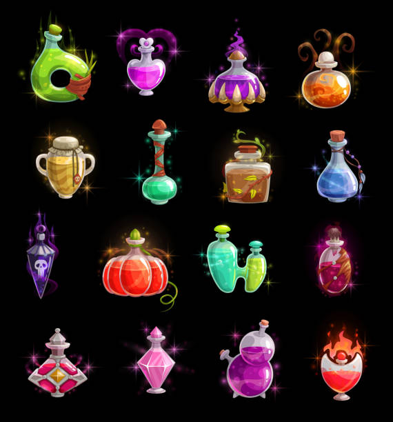 Halloween witch potion, elixir and poison bottles Halloween witch potion vector bottles. Magic poison colorful liquid in glass jars and vials with corks, snake and skull, sparkles, smoke and fire flames. Autumn horror holidays, vector icons potion stock illustrations