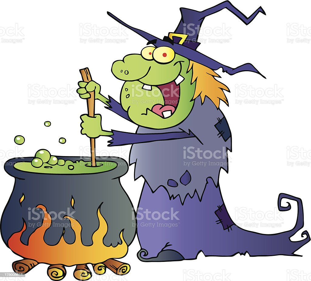 Halloween Witch Preparing A Potion royalty-free stock vector art