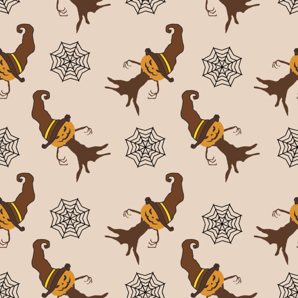 Halloween witch pumpkin and web spider seamless pattern Halloween witch pumpkin and web spider seamless pattern. vector illustration for fashion textile print and wrapping with festive design. tarantula stock illustrations