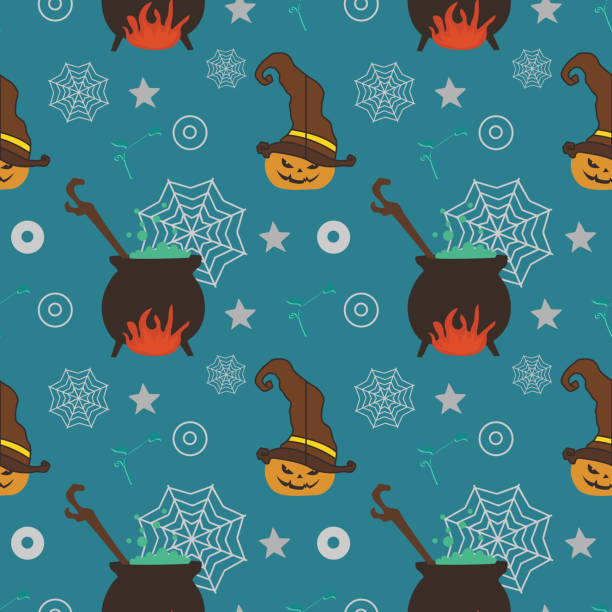 Halloween witch pumpkin web and concoction seamless pattern Halloween witch pumpkin web and concoction seamless pattern. vector illustration for fashion textile print and wrapping with festive design. tarantula stock illustrations