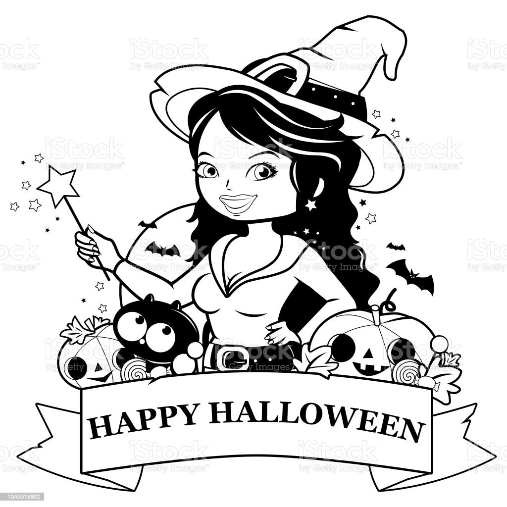 Halloween Witch Pumpkins And Treats Black And White Coloring Book