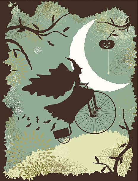 Halloween witch riding a bike vector art illustration