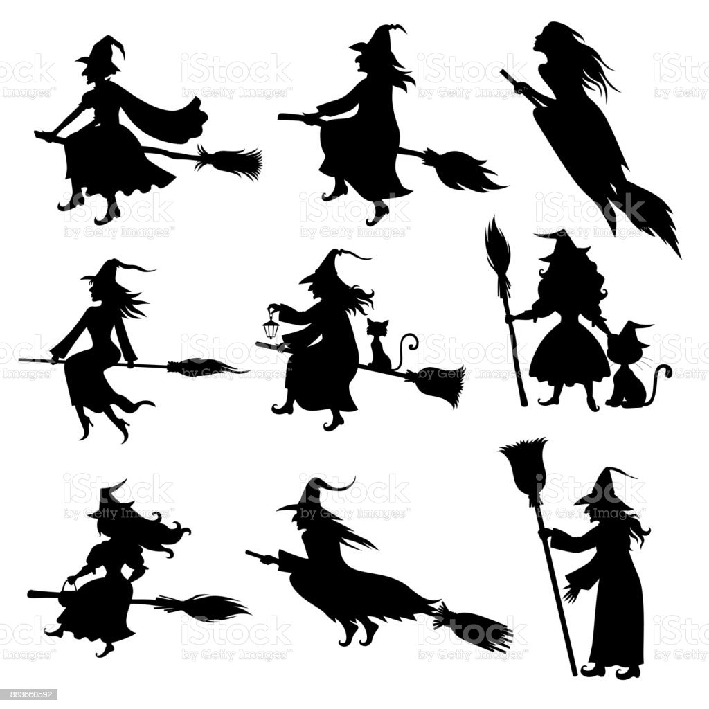 Halloween Witch Silhouette Set Stock Illustration Download Image Now Istock