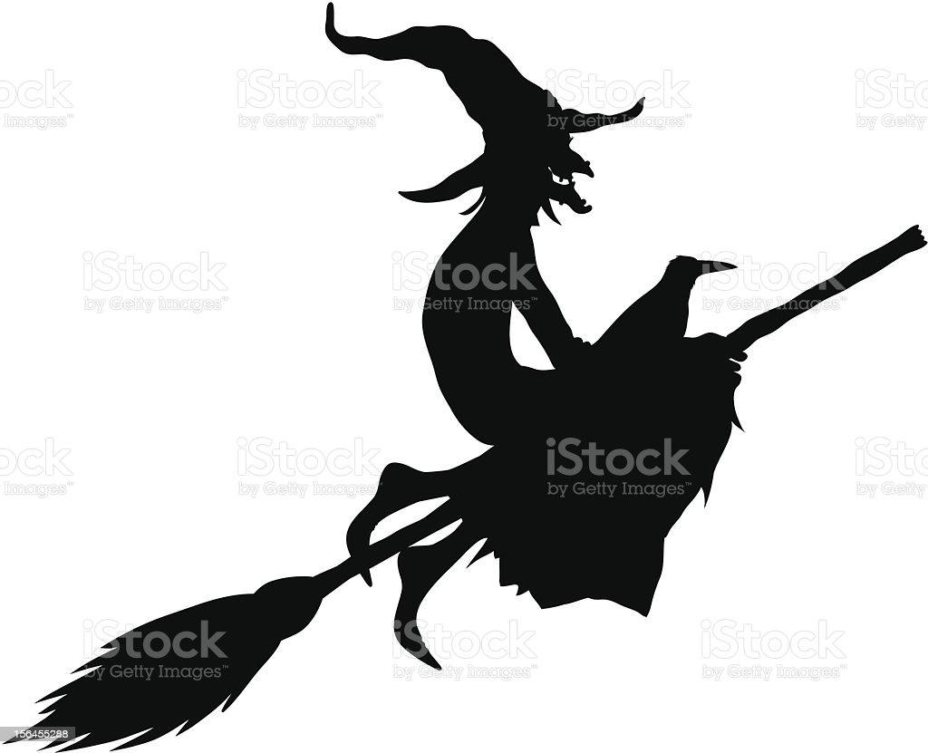 halloween witch silhouette vector art illustration