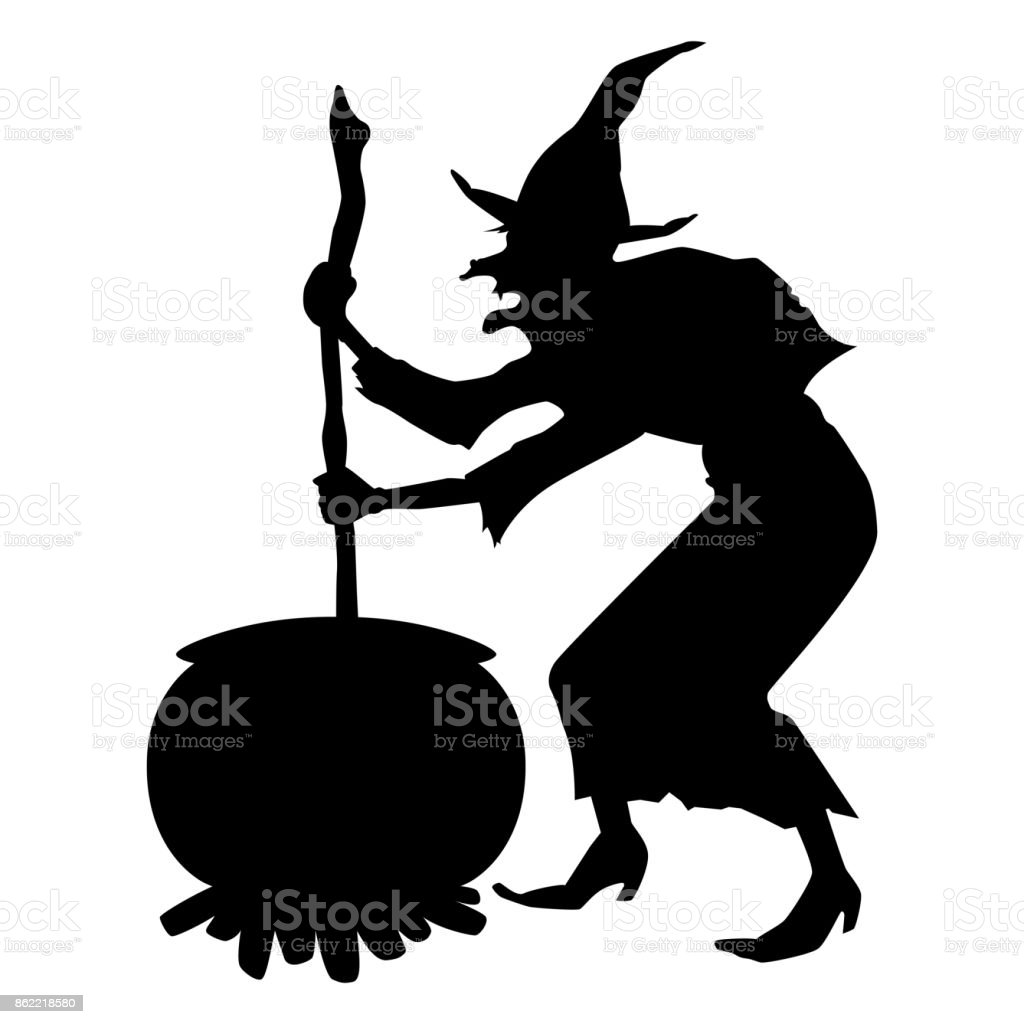 halloween witch silhouette vector art illustration