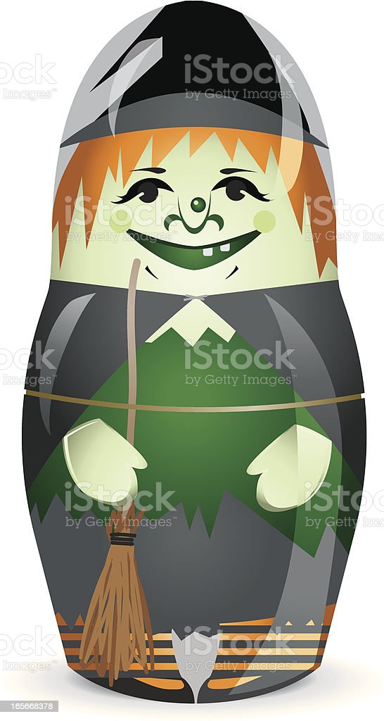 Halloween Witch stacking Doll royalty-free stock vector art