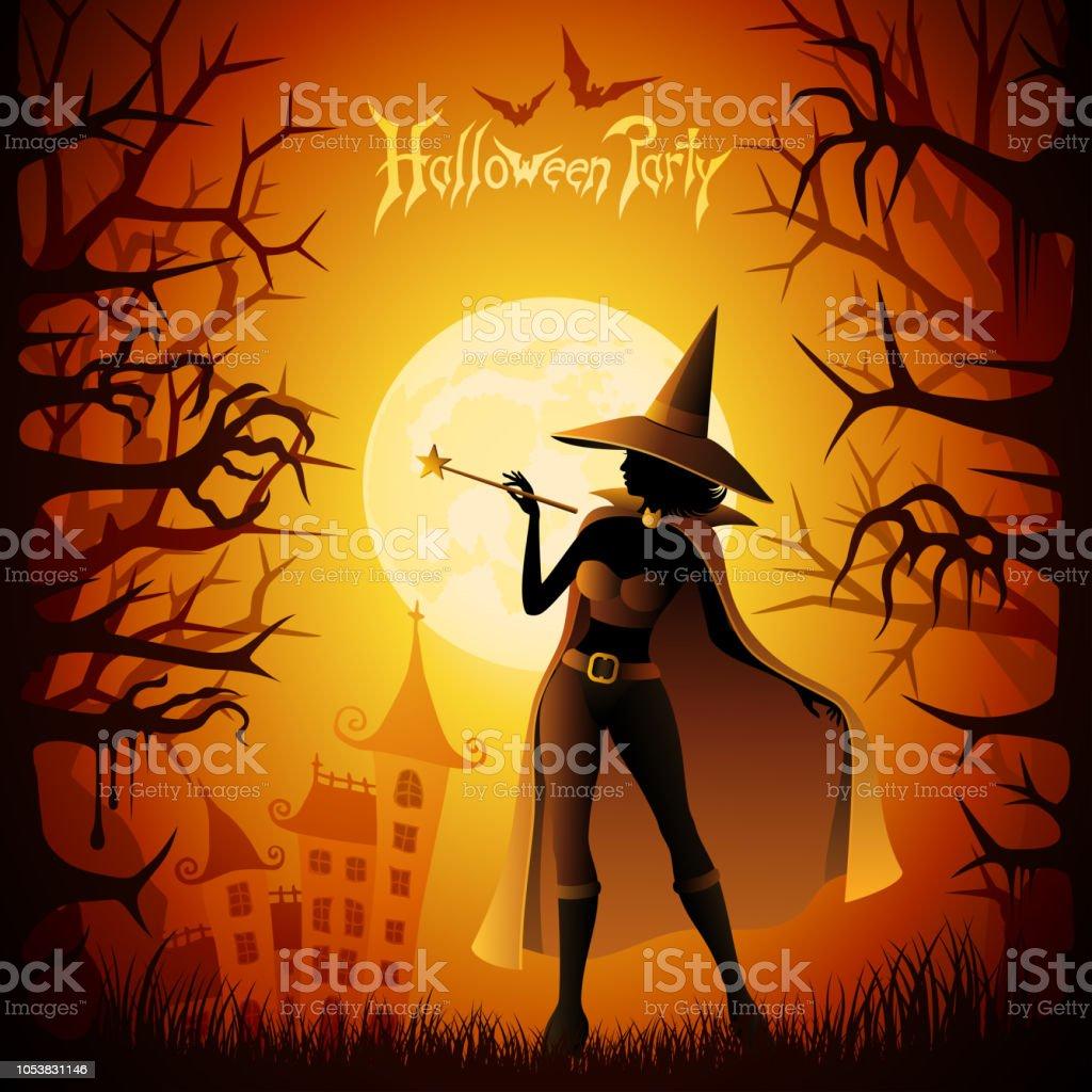 Halloween Witch vector art illustration