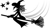 drawn of vector halloween witch silhouette.