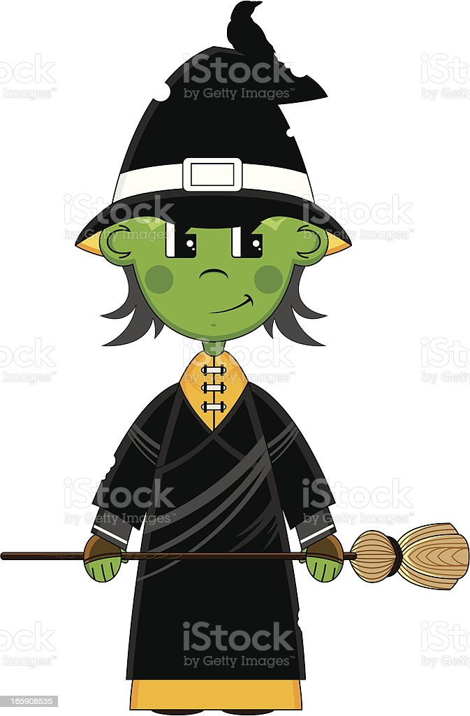 Halloween Witch with Broomstick royalty-free stock vector art