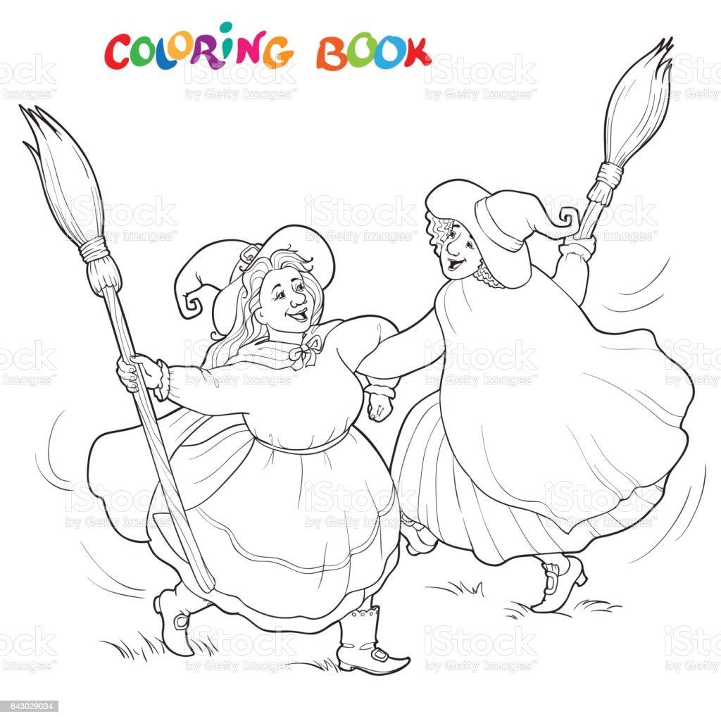 Ilustración de Brujas De Halloween Ilustración De Vector De Blanco Y ...