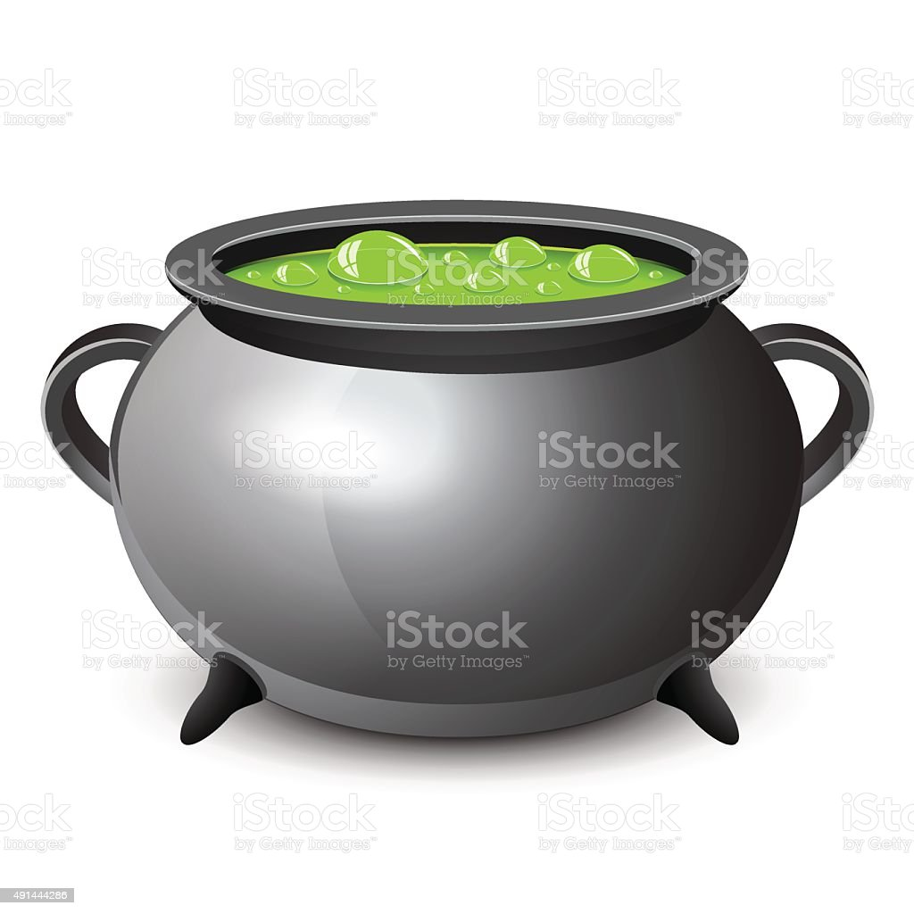 Halloween witches cauldron with green potion vector art illustration