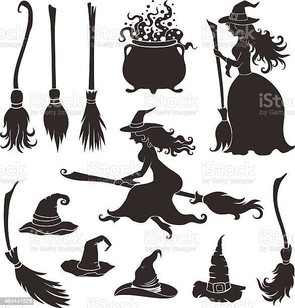 Halloween witches with brooms and hats vector id484441528?b=1&k=6&m=484441528&s=612x612&h=ney6knyg2rjsbdkzsrsau8vuj10wnp1sfnzvfetxaom=