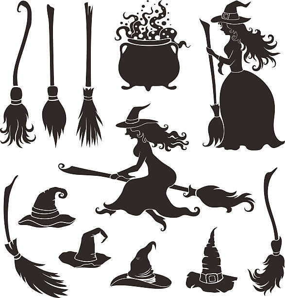 Halloween witches with brooms and hats. vector art illustration