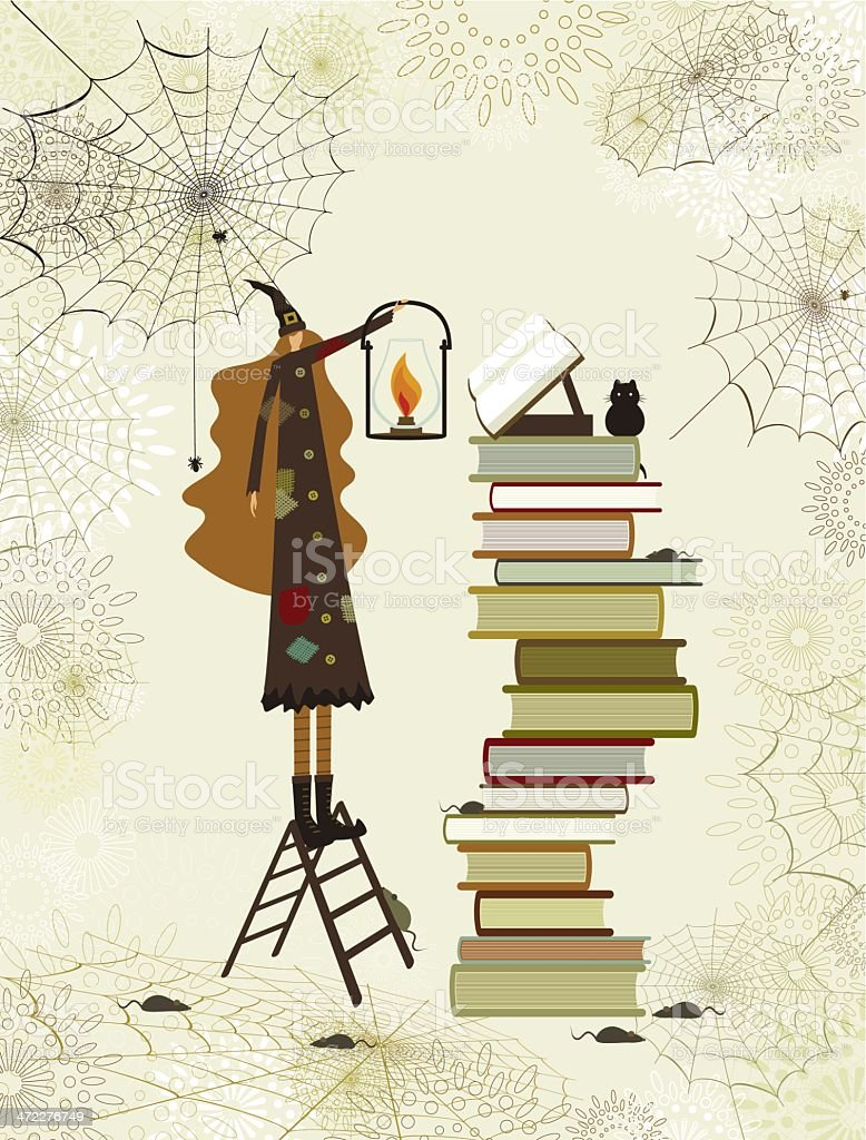 Halloween witch's library royalty-free stock vector art
