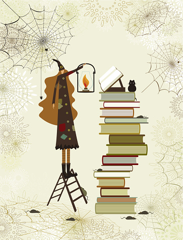 Halloween witch's library
