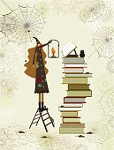 Halloween witch reading books from her library to cast a spell.