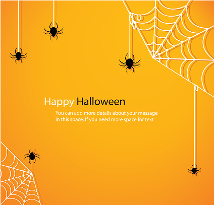 Halloween with spider web yellow background vector illustration eps10