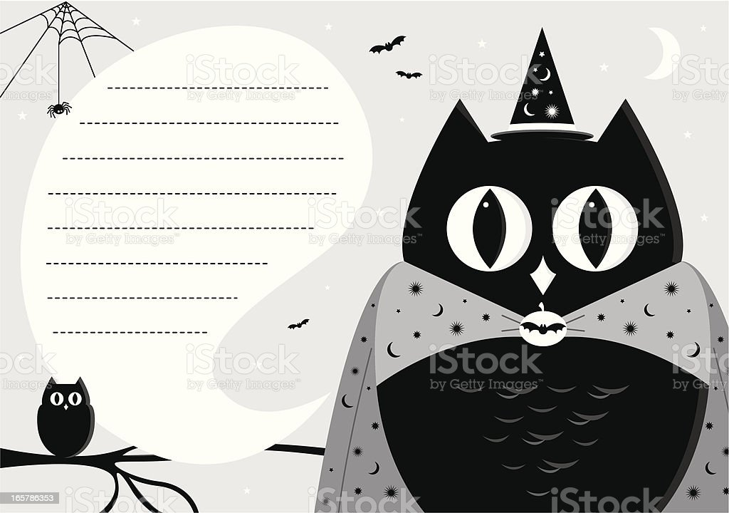 Halloween Wizard Owl Invite In Silhouette Stock Vector Art More