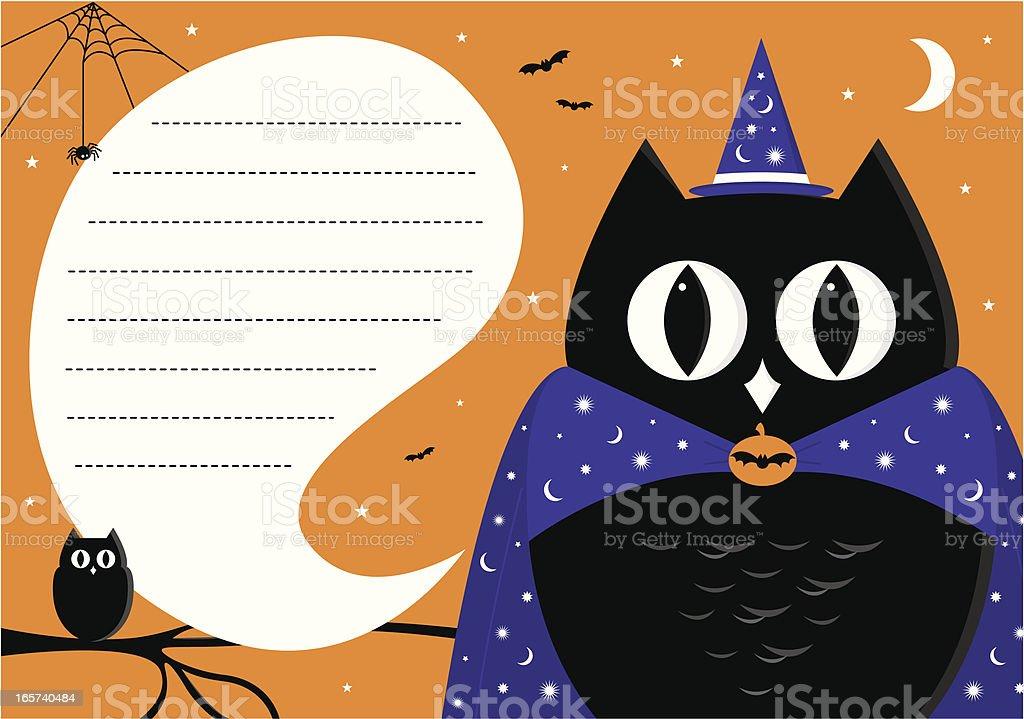 Halloween Wizard Owl Invite royalty-free stock vector art