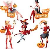 Halloween women fairy, vampire, witch, pirate, devil. Vector illustrations set.