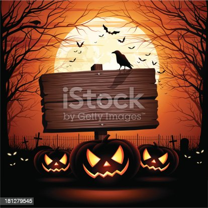 Halloween illustration with wooden sign, pumpkins, crow and bats. Space for your Halloween holiday text.