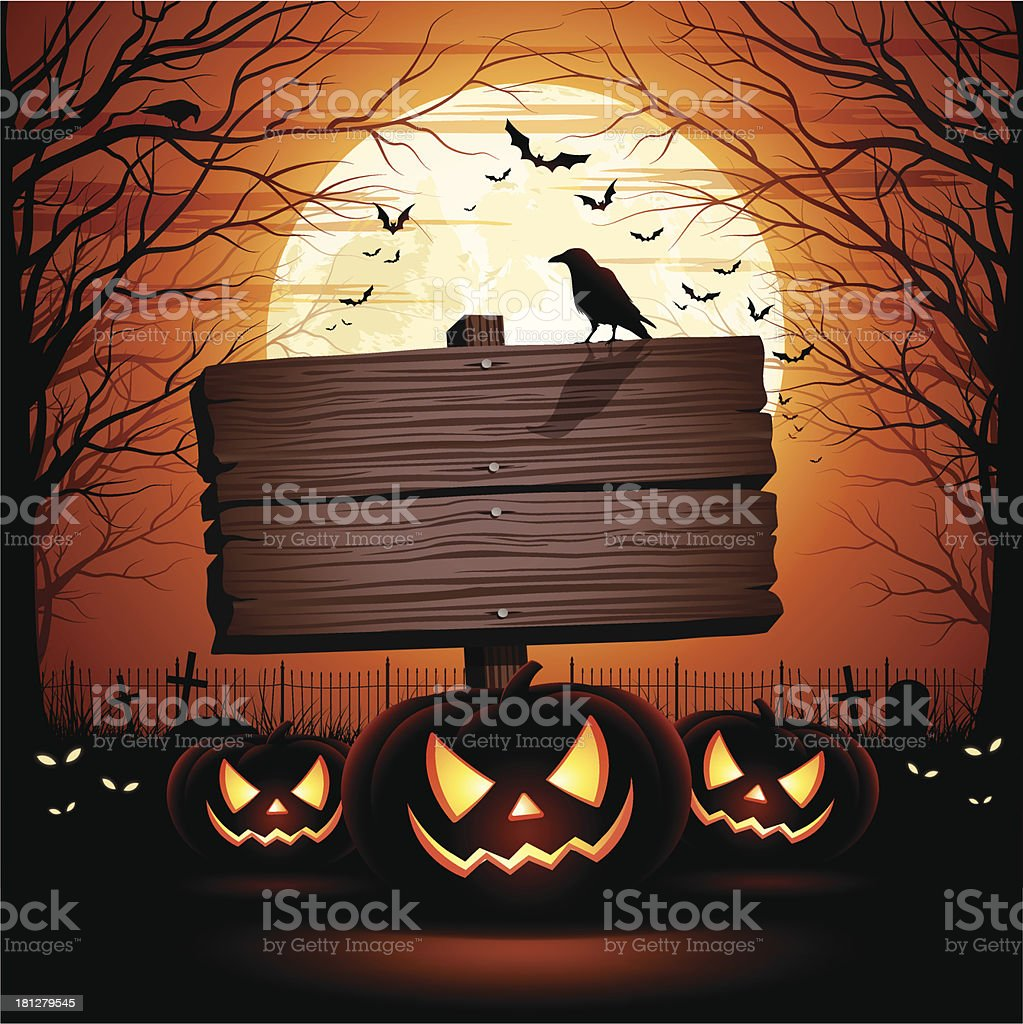Halloween Wooden Sign vector art illustration