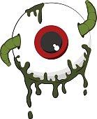 Halloween worm in eyeball cartoon