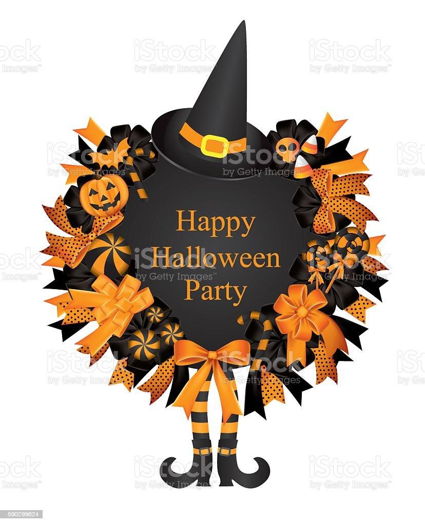 Halloween Wreath card halloween wreath card — стоковая векторная графика и другие изображения на тему Абстрактный Стоковая фотография
