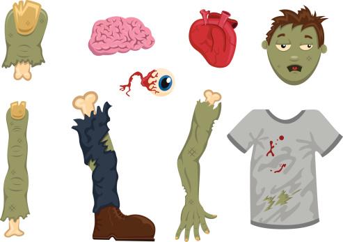 Halloween Zombie partes del cuerpo-Ilustración
