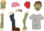Halloween Zombie Body Parts - Illustration