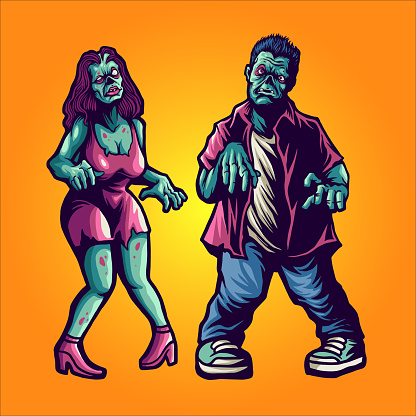 Halloween Zombie Couple Illustrations for poster and merchandise clothing line apparel