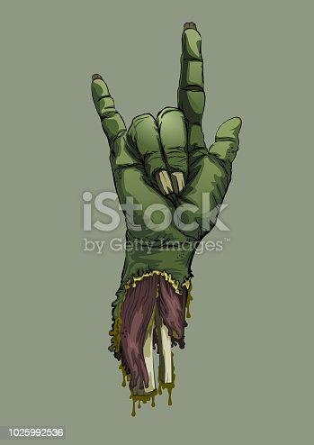 Halloween zombie hand sign love. Artwork background Halloween party. Vector illustration.