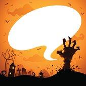 Halloween zombie hand with speech bubble