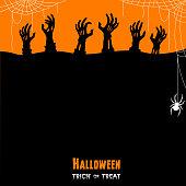 Halloween Zombie Hands. Trick or treat.