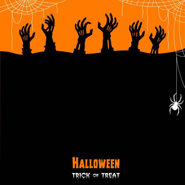 Halloween Zombie Hands. Trick or treat. vector art illustration
