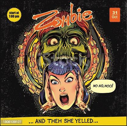 istock Halloween zombie illustration 1306139127