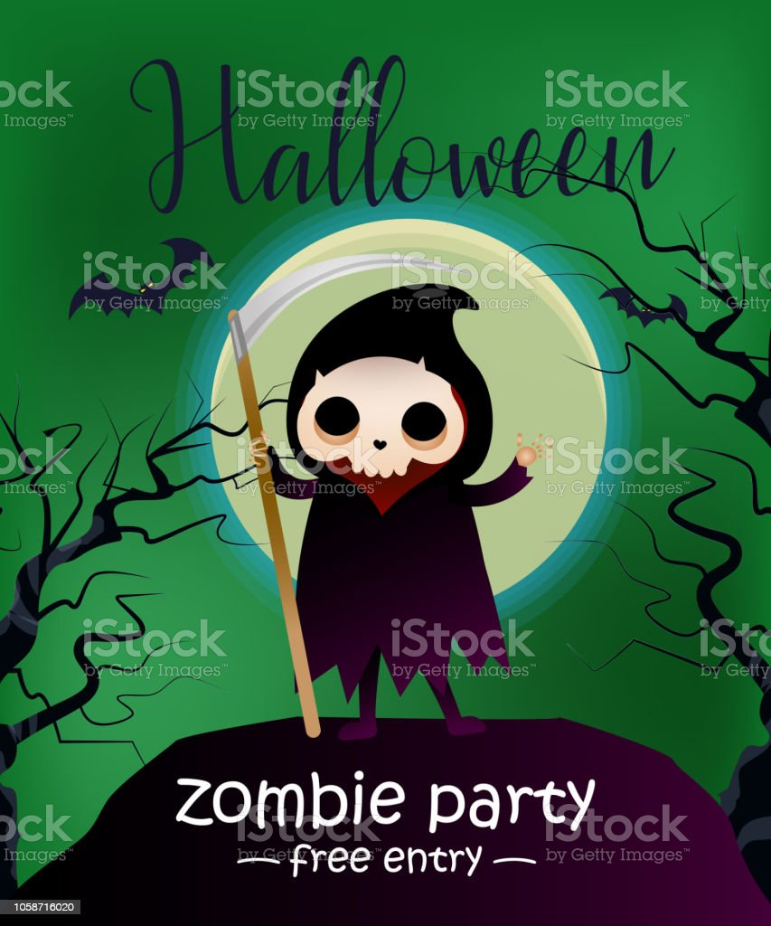 Halloween Zombie Party Free Entry Lettering With Grim Reaper