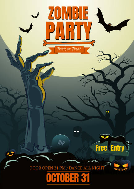 halloween zombie party poster background - frankenstein stock illustrations