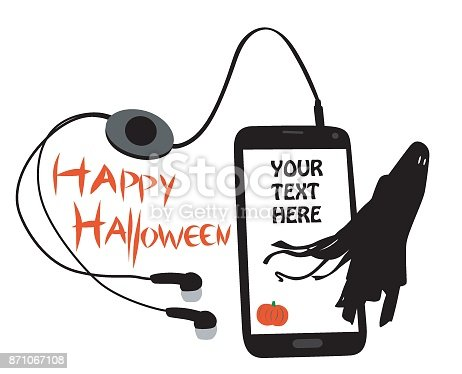 Cellphone with a halloween message and ghost escaping the phone