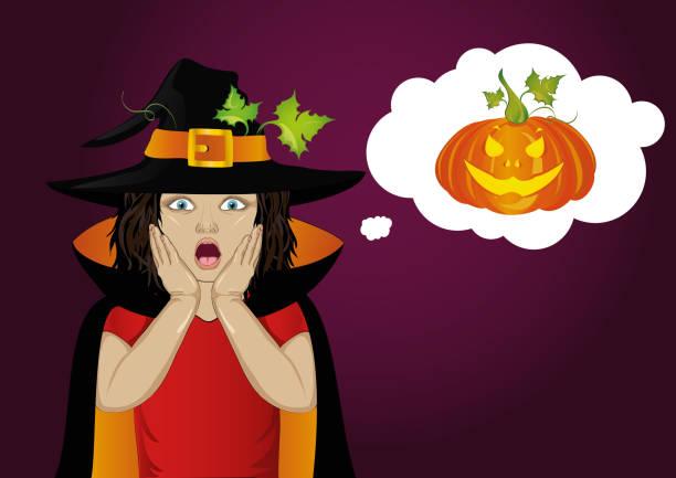 bildbanksillustrationer, clip art samt tecknat material och ikoner med halloween.girl i hatt och häxa kostym är förvånad. wow. vektor. tänkande bubbla med pumpa inuti. gratulationskort eller inbjudan för semester eller fest. pop art - kvinna ansikte glow